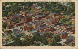 Aerial View of Business District Looking Northwest Postcard