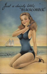 Pinup Girl on Beach Combing Hair