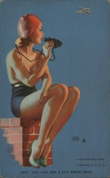 Pinup Girl Perched on Chimney with Binoculars
