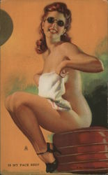 Pinup Girl Wearing a Towel and Sunglasses