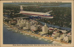 A Delta DC-6 Heading North over Miami Beach