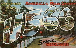 Greetings from U.S. Route 66, Scenic Missouri Postcard