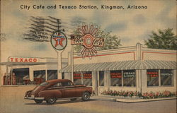 City Cafe and Texaco Station Postcard
