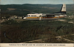 Fairchild F27-A Propjet over the University of Alaksa Postcard