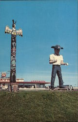 "Giant ""Phil"" and Totem Pole, Landmark Truck Stop and Restaurant"