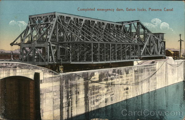 Completed emergency dam, Gatun locks, Panama Canal