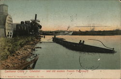 Cantilever Crane and Old Sunken French Machinery Postcard