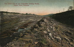 The Canal cut at Las Cascadas looking south, canal zone, Panama Postcard