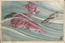Painting of Fishes swimming Postcard