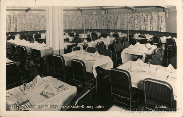 1970 M.V. Chinook - Seattle -Victoria Route - Dining Salon Washington