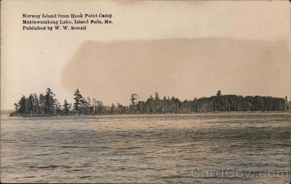Norway Island from Hook Point Camp, Mattawamkeag Lake Island Falls Maine