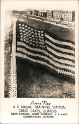 Living Flag, U.S. Naval Training Station Postcard