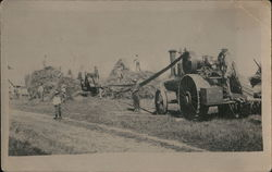 Farmers During Harvest, Steam Tractor Postcard