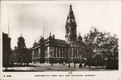 Portsmouth Town Hall and Technical Schools Postcard