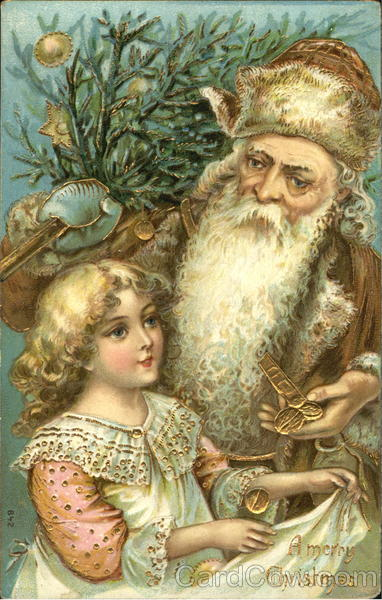 German Santa With Brown Robe Girl Santa Claus