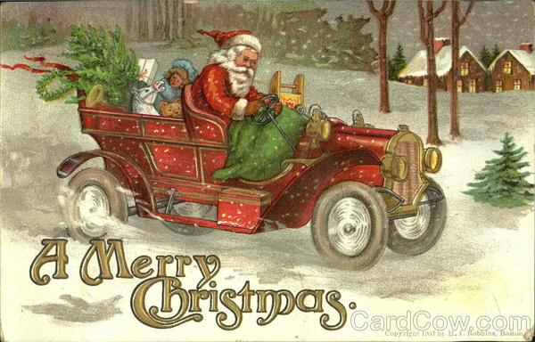 Santa Driving Car Vintage Postcard