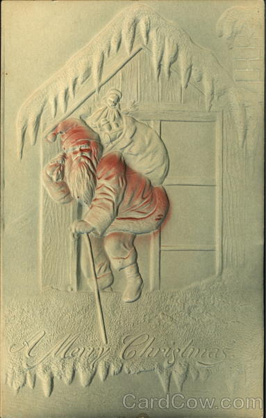 Embossed Santa on Rooftop Santa Claus