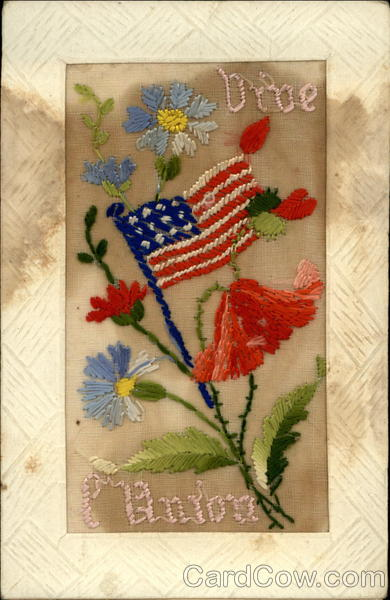 WWI US Flag, Flowers Embroidered Silk