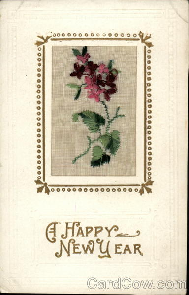 A Happy New Year Embroidered Silk