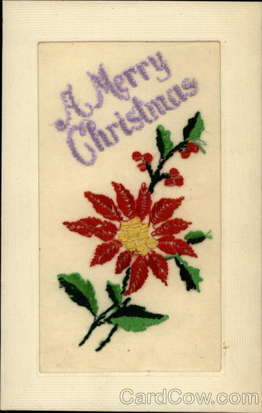 A Merry Christmas Embroidered Silk