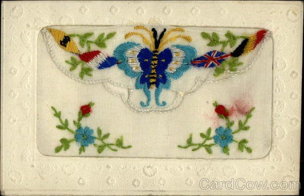 Allied Flags Butterfly Embroidered Silk World War I