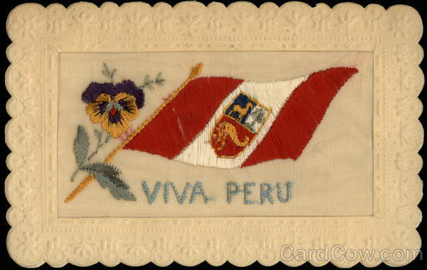 Viva Peru 1917 Embroidered Silk