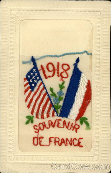 1918 US & French Flags Embroidered Silk