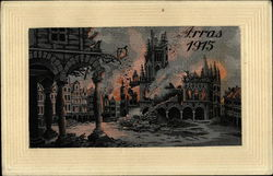 Arras France in Flames 1915