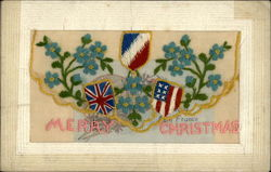 French, British, US Flags Merry Christmas