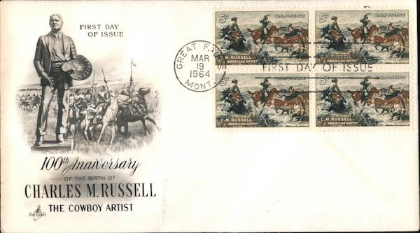 100th Anniversary of the Birth of Charles M. Russell - The Cowboy Artist Block of Stamps