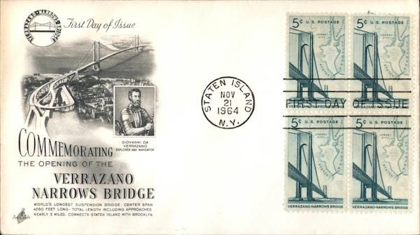 Commemorating the Opening of the Verrazano Narrows Bridge Block of Stamps