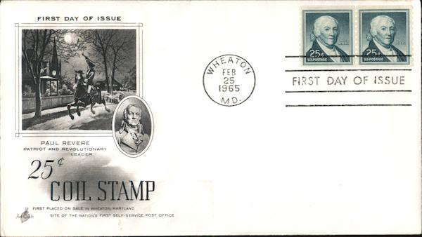 25¢ Coil Stamp - Paul Revere, Patriot and Revolutionary Leader Block of Stamps
