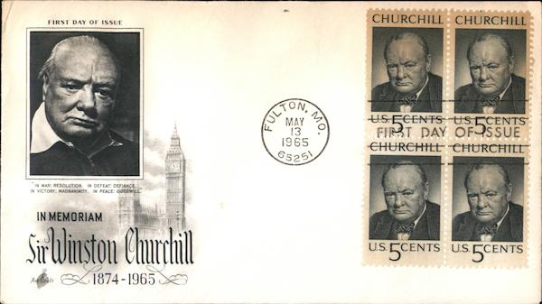 In Memoriam Sir Winston Churchill 1874-1965 Block of Stamps