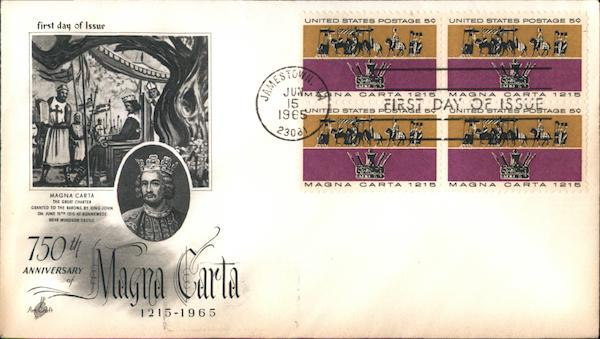 750th Anniversary of Magna Carta 1215-1965 Block of Stamps
