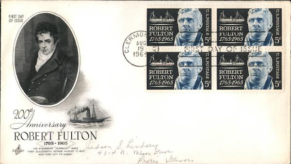 200th Anniversary Robert Fulton 1765-1965 Block of Stamps