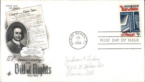 175th Aniiversary of the Bill of Rights 1791-1966 First Day Covers