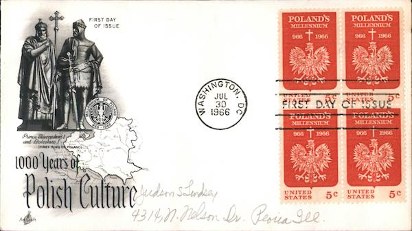 1000 Years of Polish Culture Block of Stamps First Day Covers