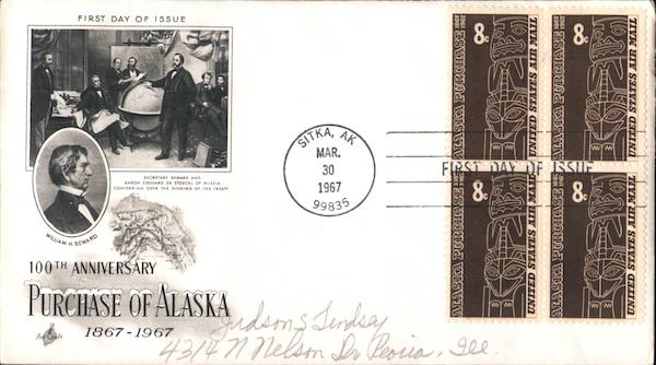 100th Anniversary Purchase of Alaska 1867-1967 Block of Stamps