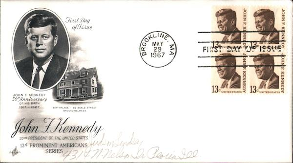 John F. Kennedy, 50th Anniversary of His Birth 1917-1967 Block of Stamps