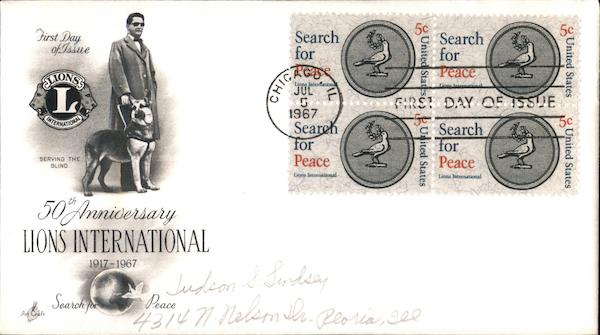 50th Anniversary Lions International 1917-1967 First Day Covers