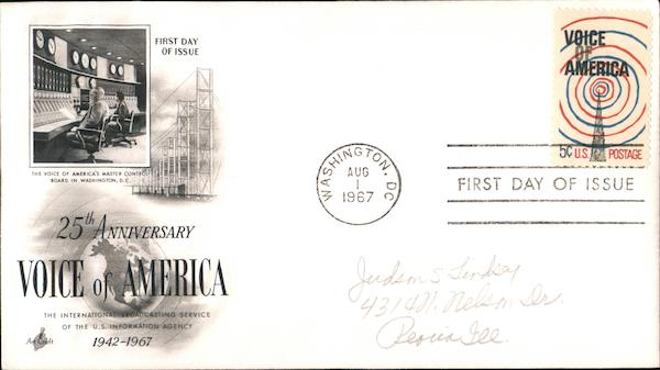 25th Anniversary Voice of America 1942-1967 First Day Covers