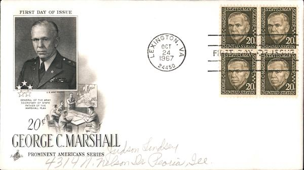20¢ George C. Marshall - Prominent Americans Series Block of Stamps