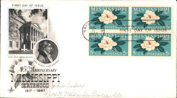 15oth Anniversary Mississippi Statehood 1817-1967 First Day Covers
