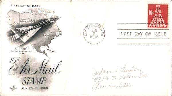 10c Air Mail Stamp Series of 1968 First Day Covers