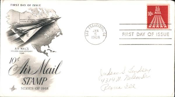 10 Cent Air Mail Stamp, Series of 1968 First Day Covers