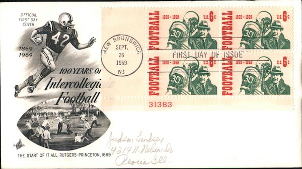 100 Years of Intercollegaite Football Plate Block of Stamps