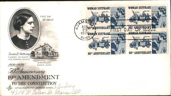 50th Anniversary 19th Amendment to the Constitution 1920-1970 Block of Stamps