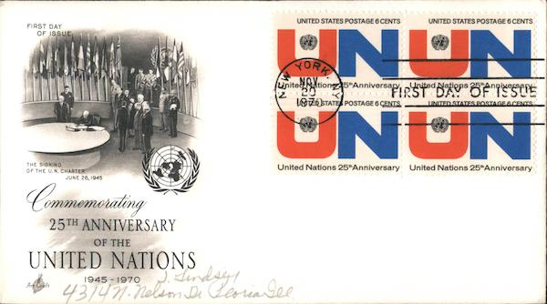 25th Anniversary of the United Nations 1945-1970 Block of Stamps