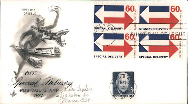 60¢ Special Delivery Postage Stamp 1971 First Day Covers
