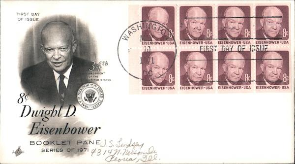 8¢ Dwight D. Eisenhower, 34th President of the United States Block of Stamps